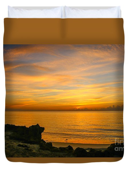 Wading In Golden Waters Duvet Cover