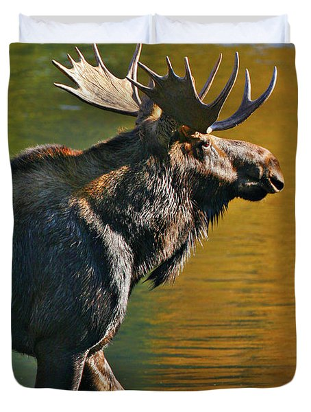 Duvet Cover featuring the photograph Wading Moose by Wesley Aston