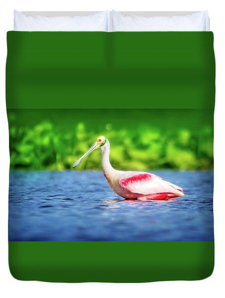 Wading Spoonbill Duvet Cover by Mark Andrew Thomas