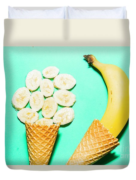 Waffle Cones With Fresh Banana Duvet Cover