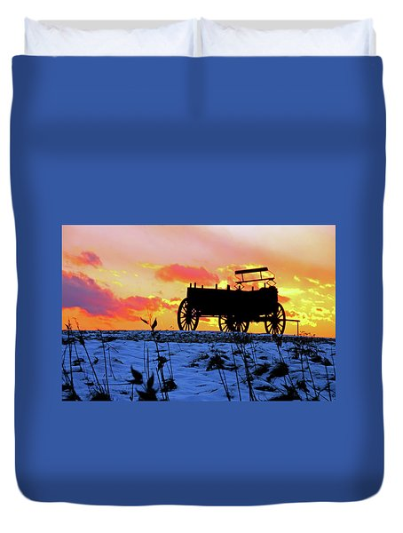 Duvet Cover featuring the photograph Wagon Hill At Sunset by Wayne Marshall Chase