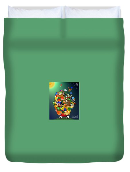 Wagon Of Toys Without White Frame Duvet Cover by Bob Winberry
