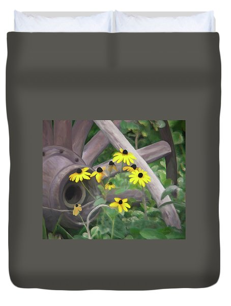 Wagon Wheel Duvet Cover by Ernie Echols