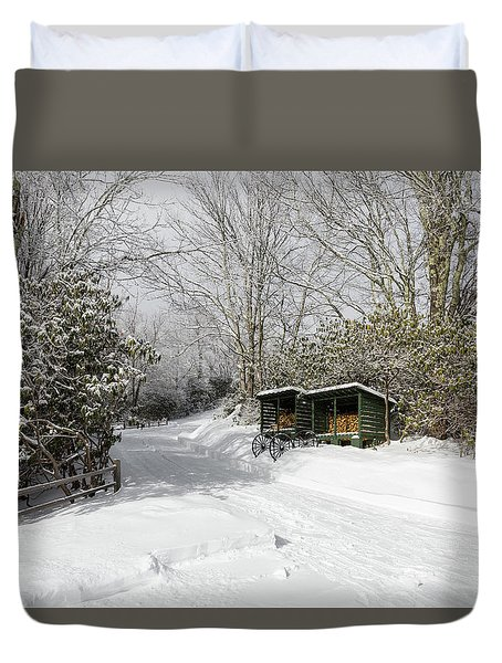 Wagon Wheels And Firewood Duvet Cover