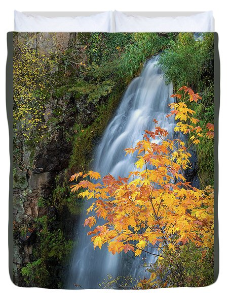 Wah Gwin Gwin Falls In Autumn Duvet Cover by David Gn