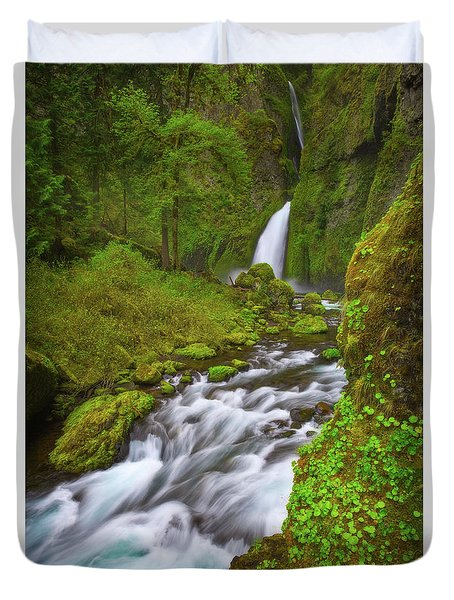 Duvet Cover featuring the photograph Wahclella Falls by Darren White