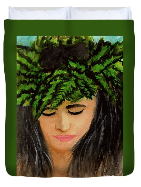 Wahine Woman In Hawaiian #244 Duvet Cover by Donald k Hall