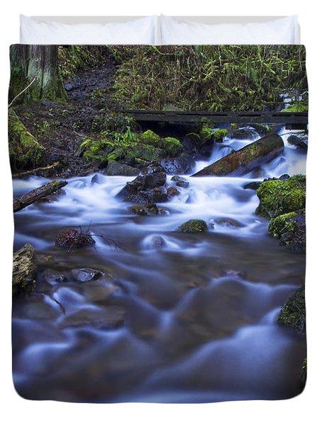 Wahkeena Creek Bridge # 5 Signed Duvet Cover