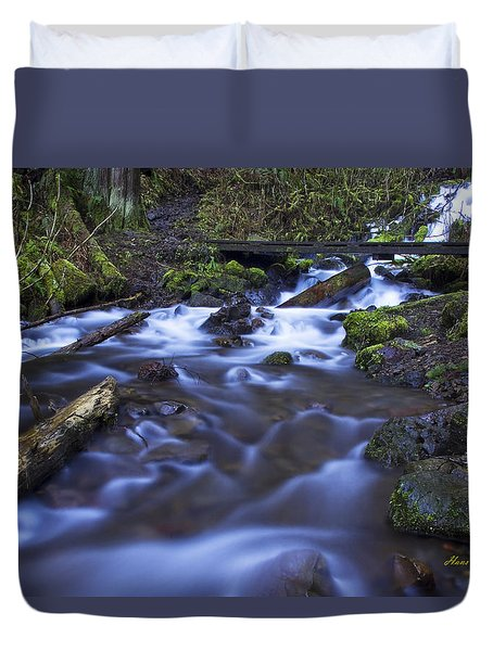 Wahkeena Creek Bridge # 5 Signed Duvet Cover