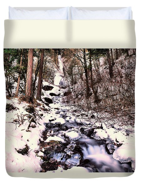 Duvet Cover featuring the photograph Wahkeena Falls In Ice by Jeff Swan