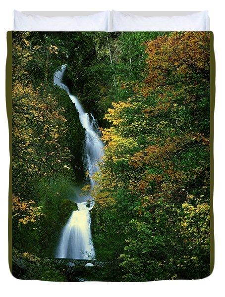 Wahkeena Falls Waterfall Duvet Cover