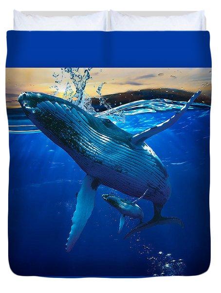 Whale Watching Art Duvet Cover