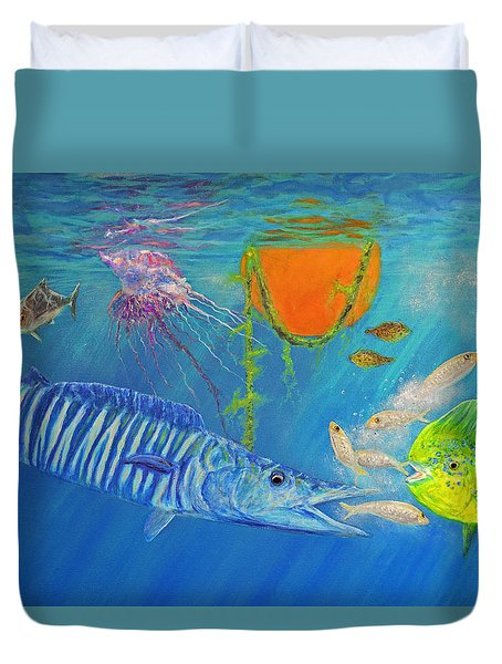 Wahoo Dolphin Painting Duvet Cover