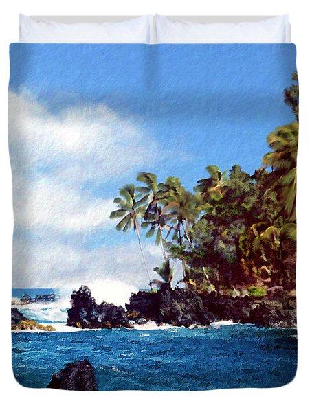 Waianapanapa Maui Hawaii Duvet Cover by Kurt Van Wagner
