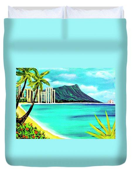 Waikiki Beach And Diamond Head #150 Duvet Cover by Donald k Hall