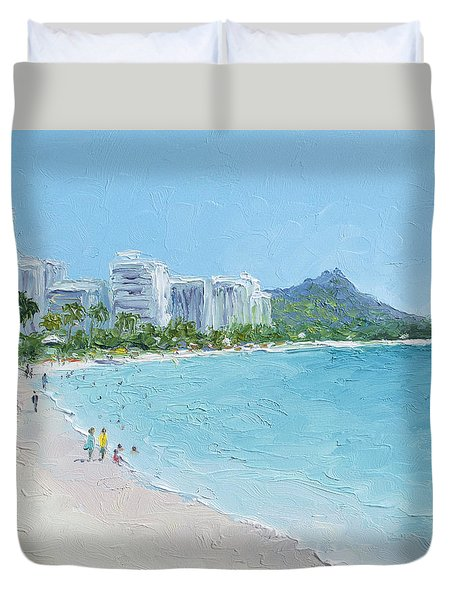 Waikiki Beach Honolulu Hawaii Duvet Cover