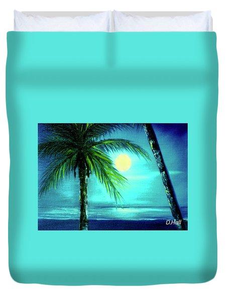 Waikiki Beach Moon #22 Duvet Cover by Donald k Hall