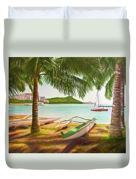 Waikiki Beach Outrigger Canoes 344 Duvet Cover by Donald k Hall