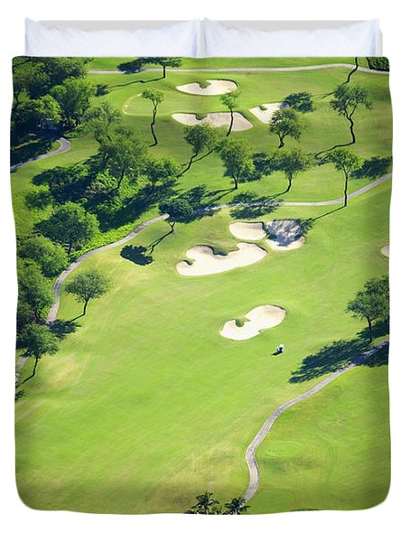 Wailea Gold And Emerald Courses Duvet Cover by Ron Dahlquist - Printscapes