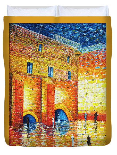 Duvet Cover featuring the painting Wailing Wall Original Palette Knife Painting by Georgeta Blanaru