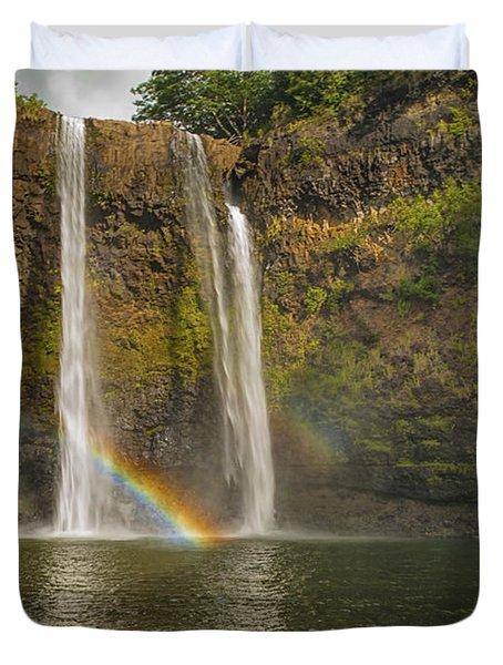 Wailua Falls Rainbow Duvet Cover