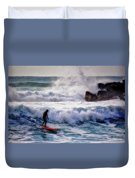 Waimea Bay Surfer Duvet Cover by Jim Albritton