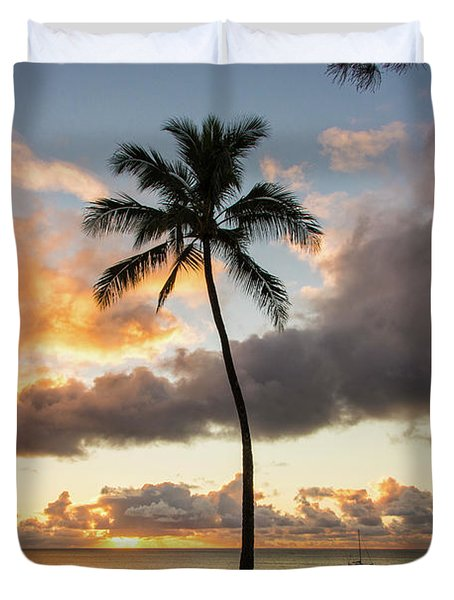 Waimea Beach Sunset - Oahu Hawaii Duvet Cover by Brian Harig