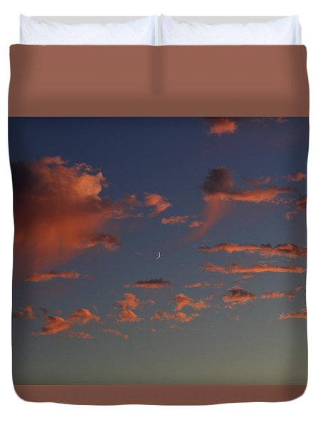Waining Moon Pink Clouds Duvet Cover by Suzanne Lorenz