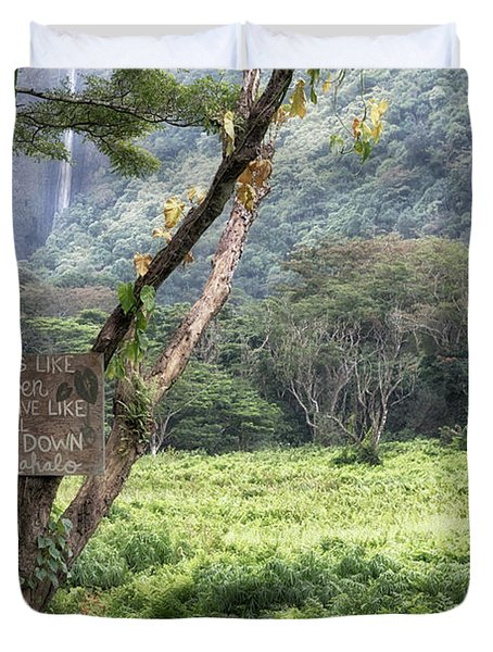 Waipio Valley Road Rules Duvet Cover