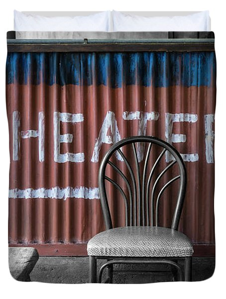 Corrugated Metal Theater Sign Duvet Cover