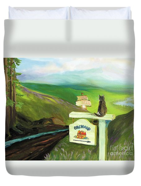 Duvet Cover featuring the painting Waiting For Andy by Donna Hall