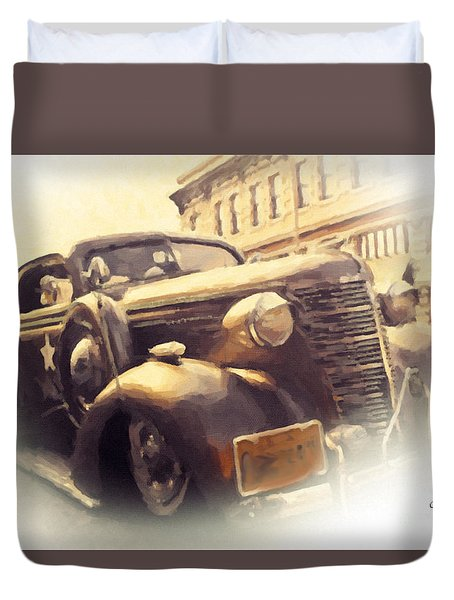 Duvet Cover featuring the painting Waiting For Bonnie And Clyde by Chris Armytage