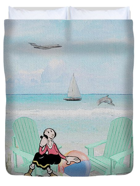 Waiting For Popeye Duvet Cover