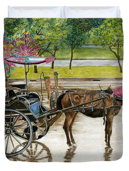 Duvet Cover featuring the painting Waiting For Rider Jakarta Indonesia by Melly Terpening