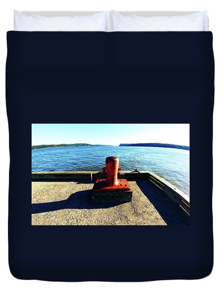 Waiting For The Ship To Come In. Duvet Cover
