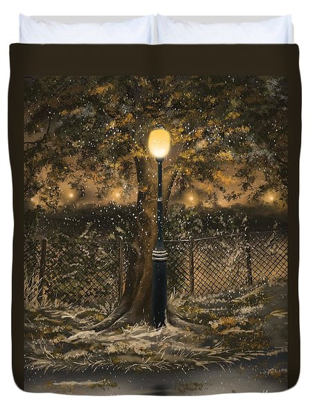 Duvet Cover featuring the painting Waiting For The Snow by Veronica Minozzi