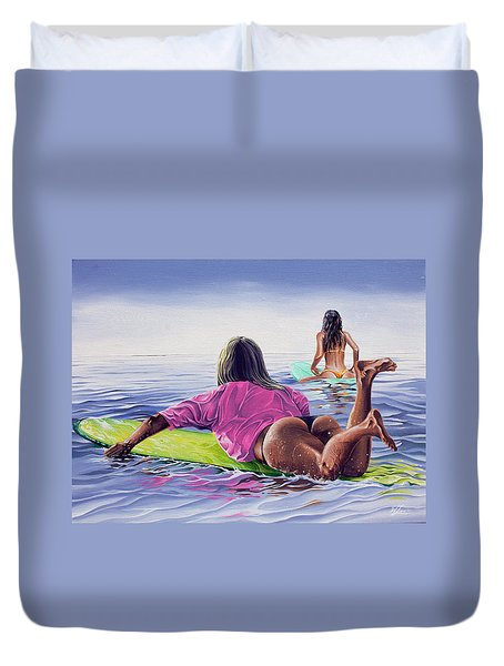 Duvet Cover featuring the painting Waiting For The Sun by William Love