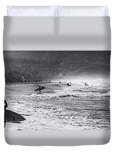Waiting For The Surf By Mike-hope Duvet Cover