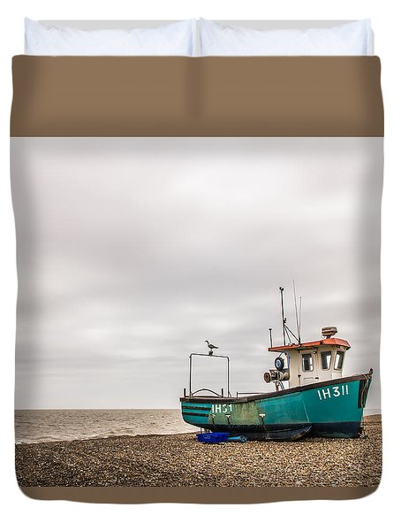 Waiting For The Tide Duvet Cover by David Warrington
