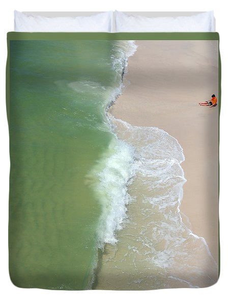 Waiting For The Wave Duvet Cover by Teresa Schomig