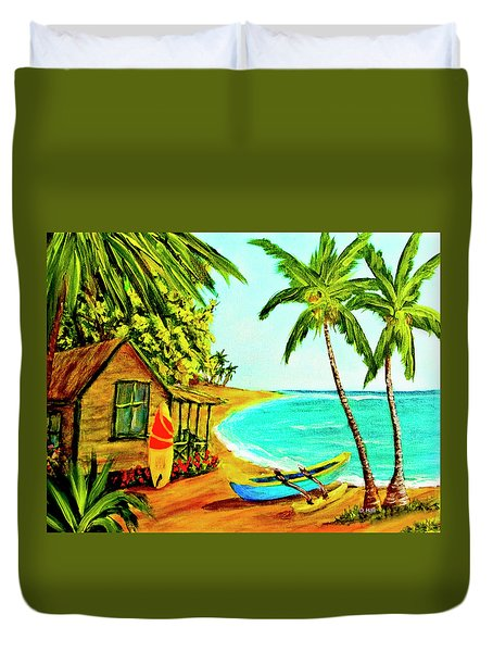 Waiting For The Waves Hawaii #387  Duvet Cover by Donald k Hall