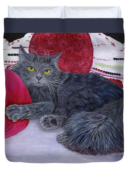 Duvet Cover featuring the painting Waiting For You by Karen Zuk Rosenblatt