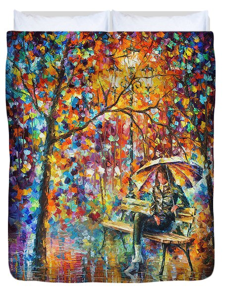 Waiting In The Rain Duvet Cover by Leonid Afremov