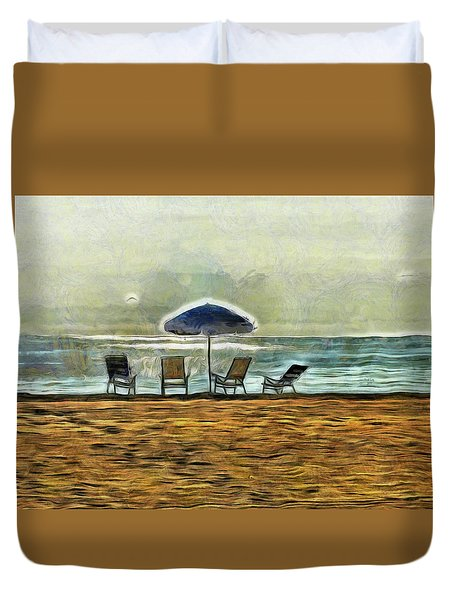 Duvet Cover featuring the mixed media Waiting On High Tide by Trish Tritz