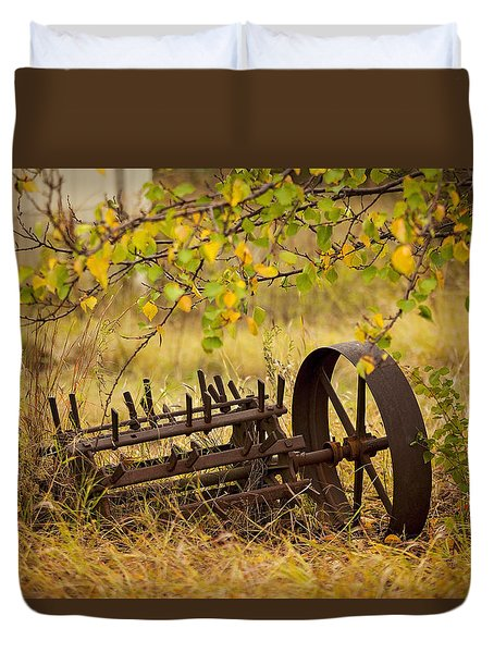 Duvet Cover featuring the photograph Waiting On My Other Wheel by Toni Hopper