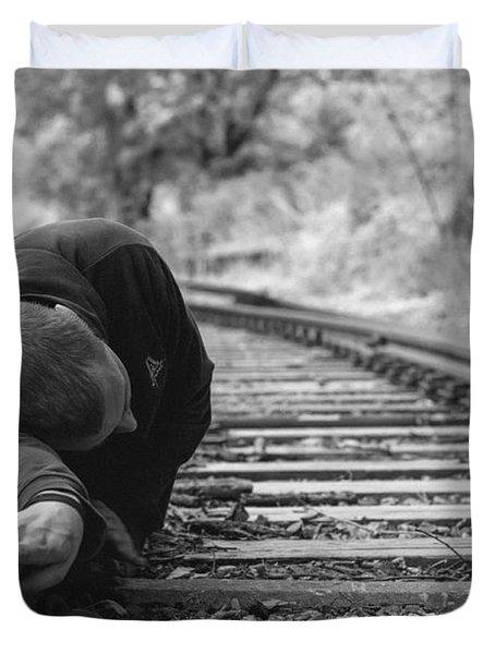 Waiting On The Rails Duvet Cover