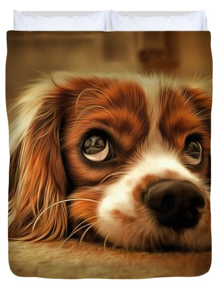 Duvet Cover featuring the painting Waiting Pup by Harry Warrick