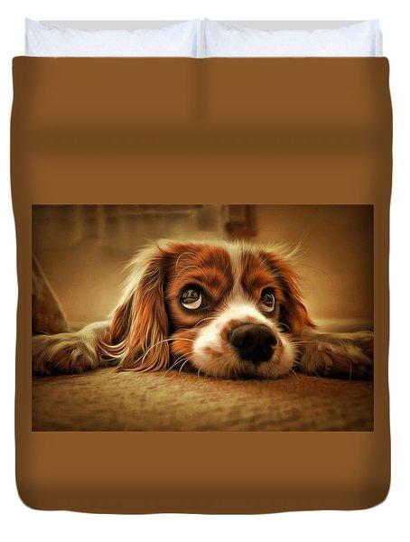 Waiting Pup Duvet Cover