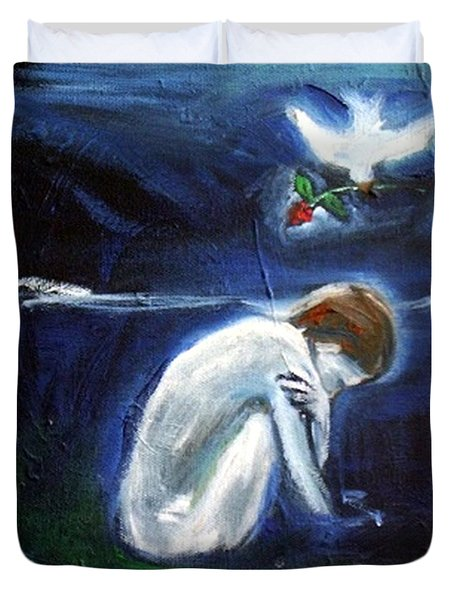 Duvet Cover featuring the painting Waiting by Winsome Gunning