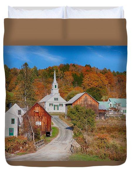 Waits River Church In Autumn Duvet Cover